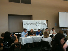Sean Keener, Heather Pool,  and Michael Yessis on a blog panel