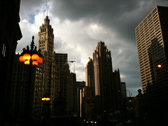 Michigan Avenue at Sunset
