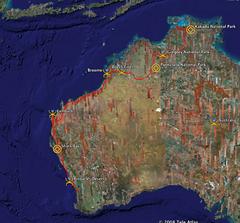 Route through West Australia
