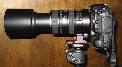 D200 with 80-400mm lens attached to tripod via lens collar and plate