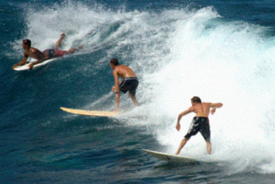 Simulation of Digital Zoom used for photo of Surfers on Maui, Hawaii
