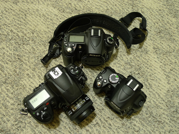 Top: Nikon D90, Left: Nikon D700 and Right: Nikon D3000 size comparison. The D3000 appears tiny compared to its two big brothers