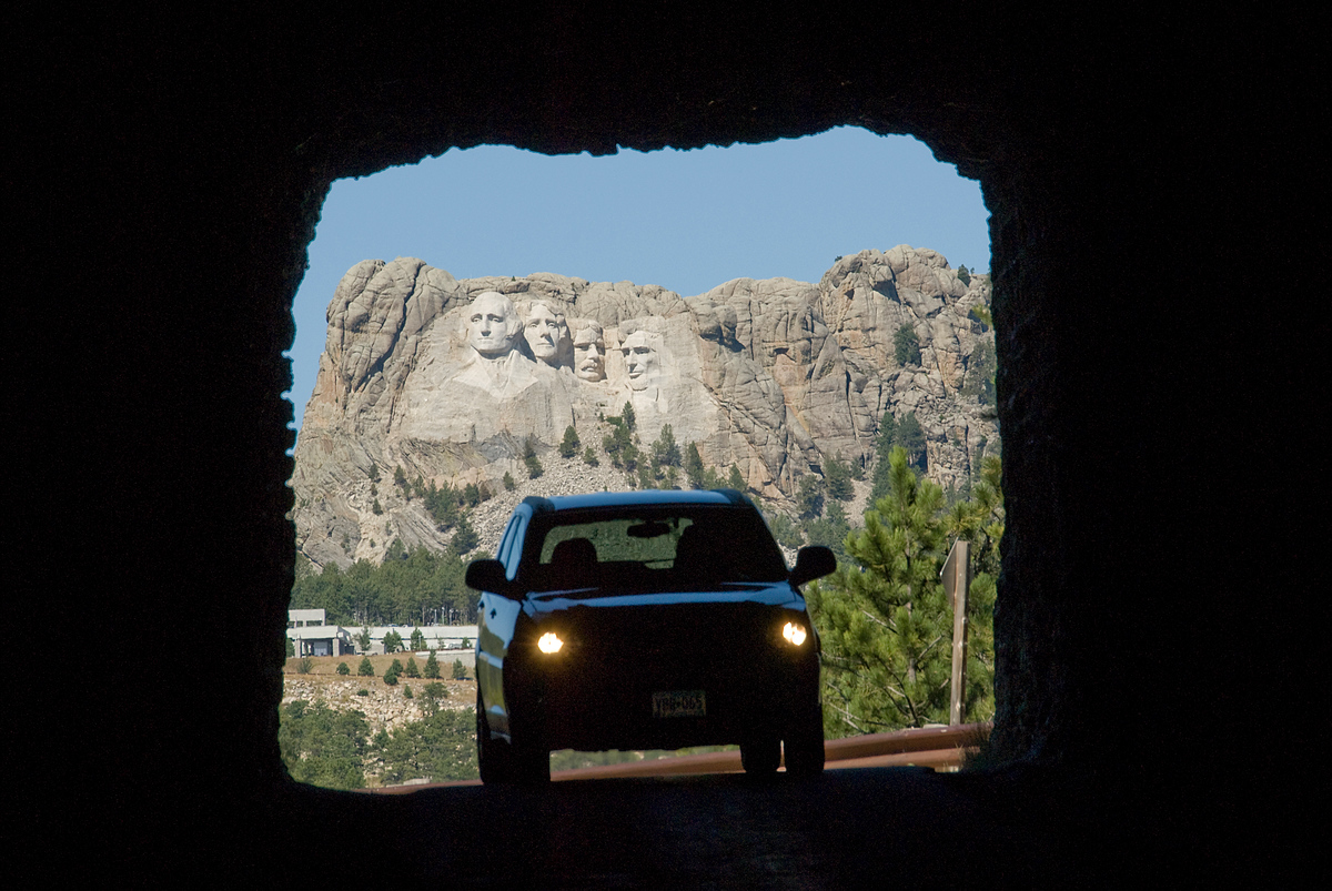 Car, tunnel and Mount Rushmore, Black Hills, South Dakota