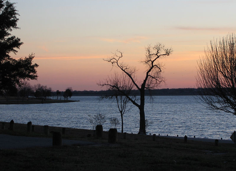 A view of the lake at sunset