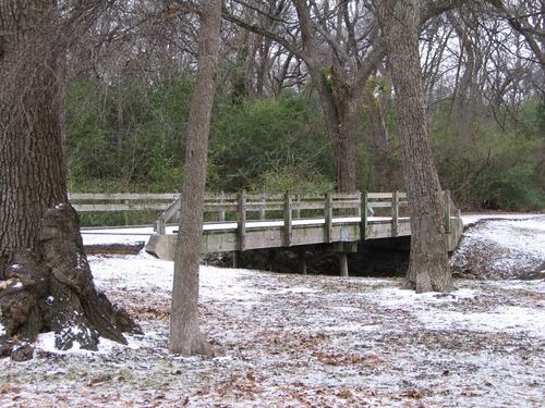 The footbridge at the lake covered with ice (166_6678)
