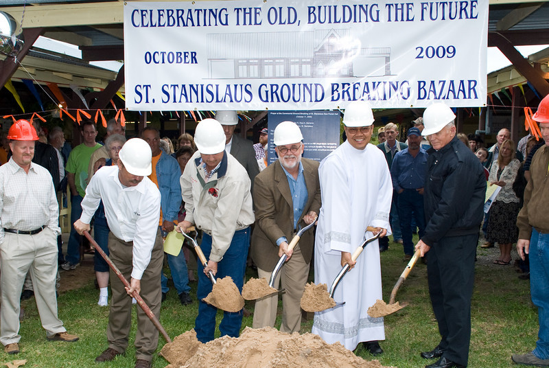Ground breaking ceremony for St. Stanislaus' new parish hall.