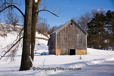 Winter Barn Scene, Sauk County, Wisconsin