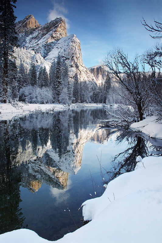 New Icon - Three Brothers reflecting in the Merced, Yosemite National Park