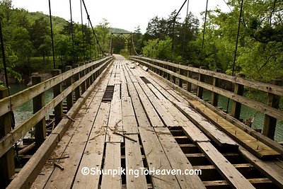 Swinging Bridge, Damaged in Flood, Stone County, Arkansas