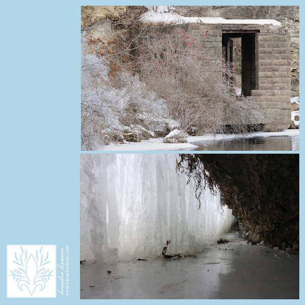 Frozen waterfall and building