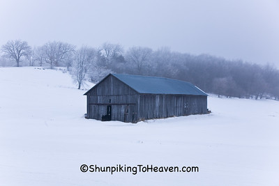 Gray Tobacco Barn on Frosty Winter Morning, Dane County, Wisconsin