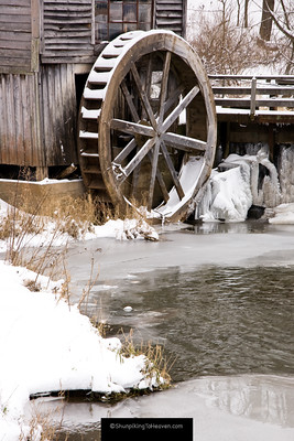 Wooden Waterwheel at Hyde's Mill, Built 1850, Iowa County, Wisconsin