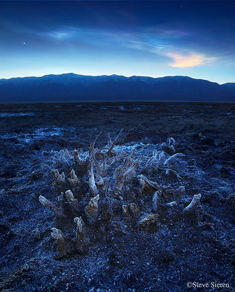 Life existed - Death Valley Badwater Salt Flats at dusk.