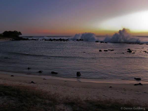 sunset & waves, near the Kona airport, west coast of Hawaii