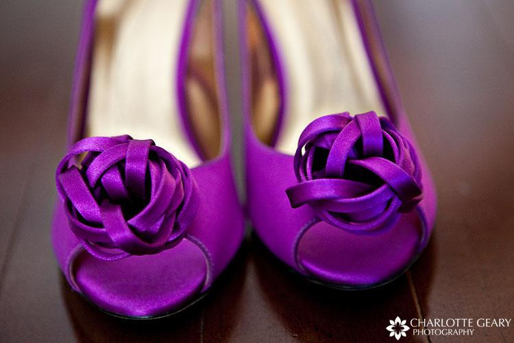 Purple wedding shoes for a bride