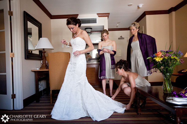 Bride getting ready at the Vail Cascade Resort