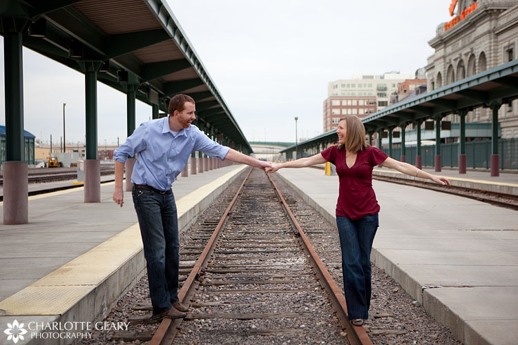 Denver engagement portraits at Union Station