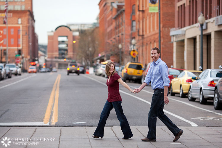 Denver engagement portraits in Lower Downtown Denver