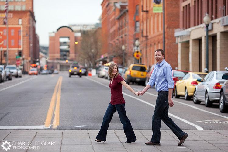 Denver engagement portraits in Lower Downtown Denver
