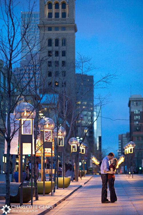 Nightime urban engagement portraits in Denver
