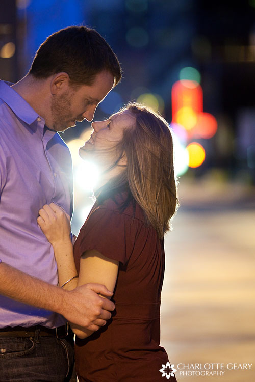 Nightime engagement portraits in Lower Downtown Denver