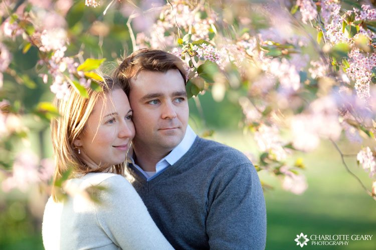 Springtime engagement portrait at Meadowlark Gardens in Vienna, Virginia