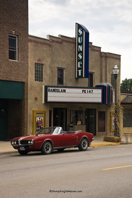 Sunset Theatre, (The 99 Cent Theatre), circa 1940, with Red Firebird Convertible, Sumner, Bremer County, Iowa