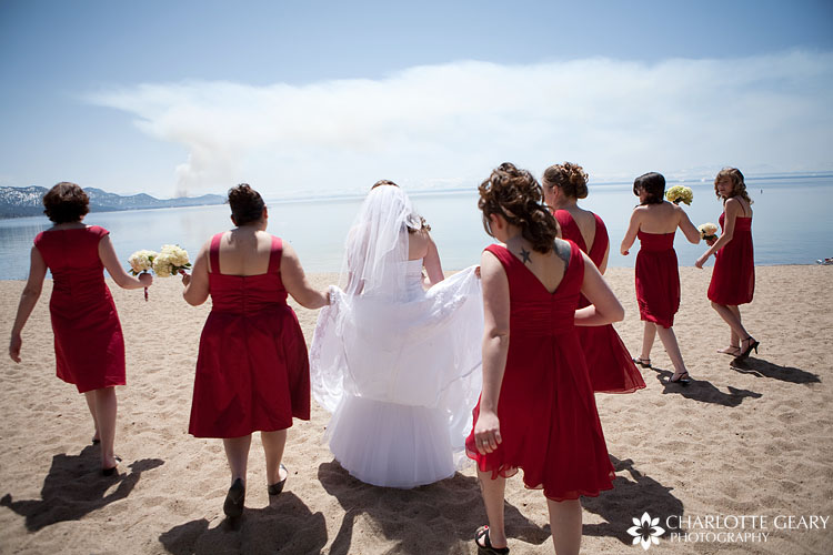 Bridesmaids on the beach in Incline Village at Lake Tahoe