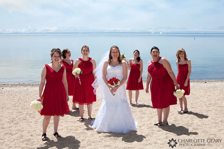 Bride and bridesmaids on the beach in Incline Village at Lake Tahoe