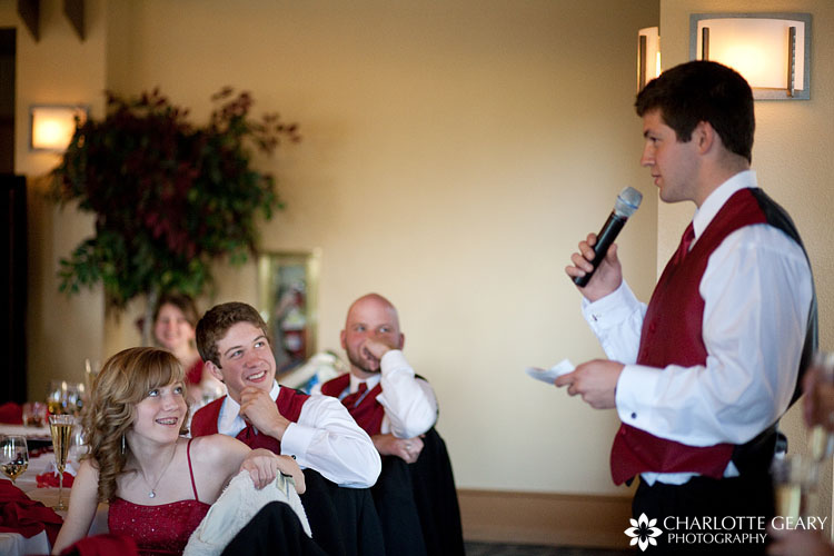 Groomsmen in red vests