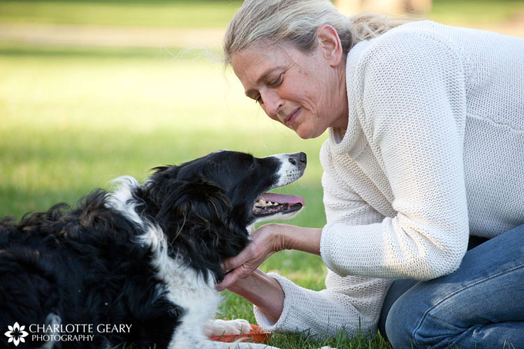 Woman with border collie