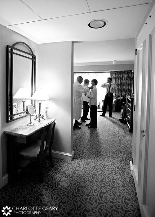 Guys getting ready for wedding