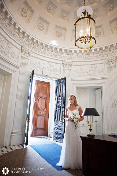 Bride in the dome room at the Colorado Springs School