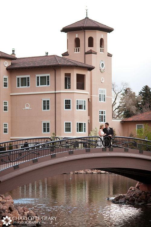 Bride and groom on the Broadmoor bridge
