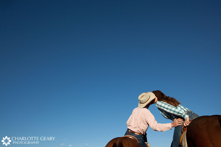 Colorado engagement portrait with horses