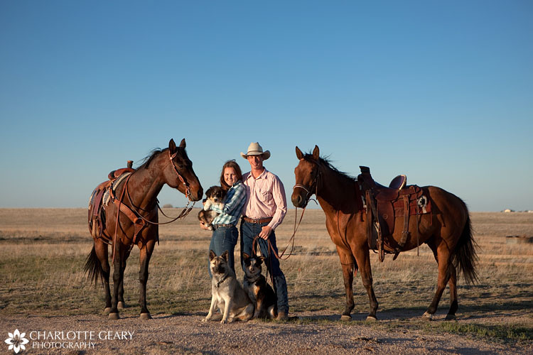 Colorado engagement portrait with horses and dogs