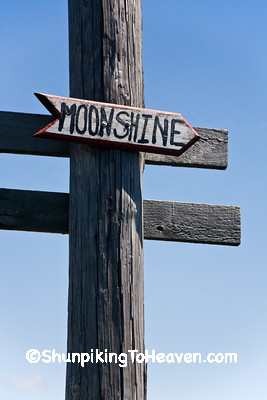 Sign Pointing to Moonshine, Population 2, Clark County, Illinois
