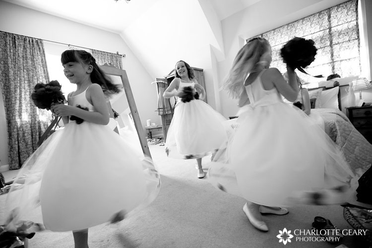 Flower girls twirling
