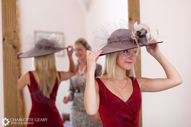 Bridesmaid in a silver hat