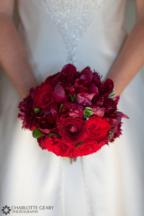 Red bouquet with roses and peonies