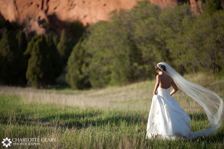 Bridal portraits at the Garden of the Gods in Colorado Springs