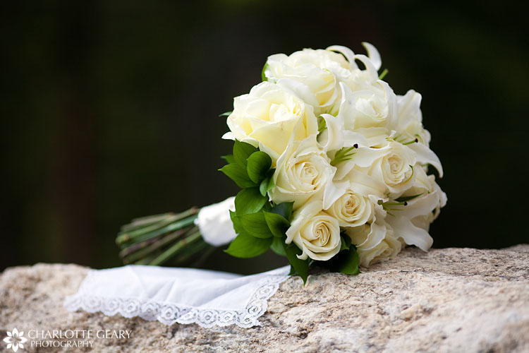 White bouquet with roses and lilies
