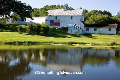 Patriotic Barn Reflecting in Pond, Jackson County, Wisconsin