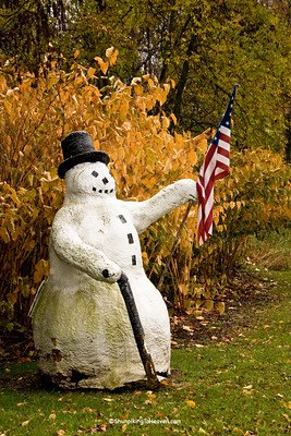 Patriotic Snowman in Autumn, Kewaunee County, Wisconsin