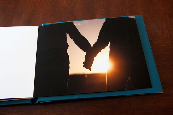 Wedding guest book with engagement portraits