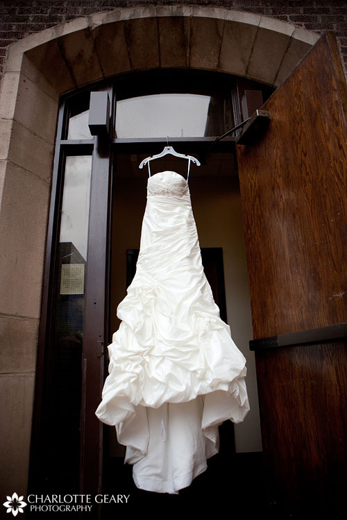 Wedding gown in doorway