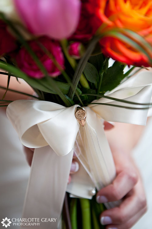 Heirloom ring on a bridal bouquet