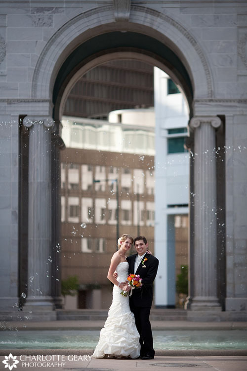 Bride and groom at Civic Center Park in Denver