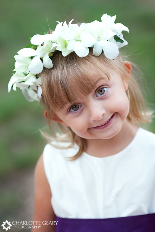 Flower girl with white floral garland