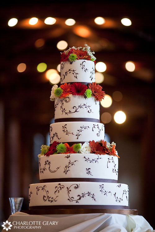 Red, orange, and brown wedding cake